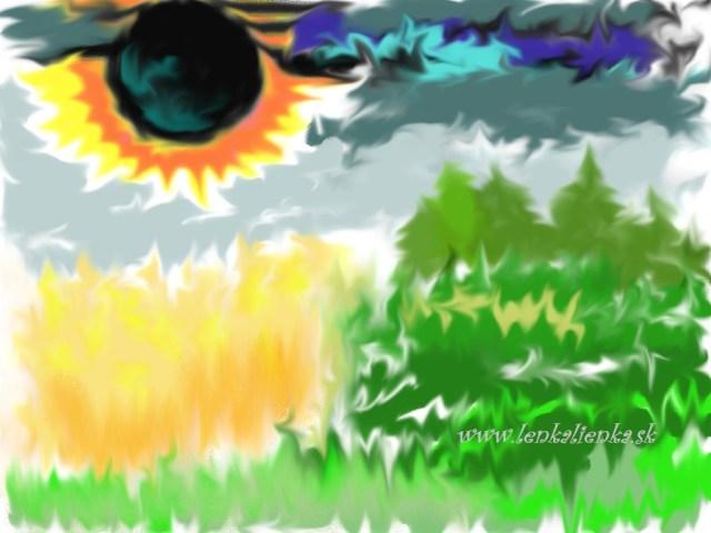 zatmenie, oblaky, obilie, lúka, les