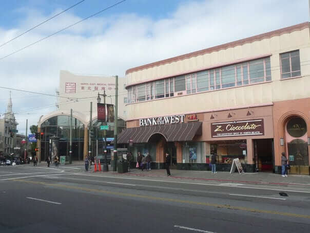 hranica medzi Čínskou štvrťou a Talianskou štrťou, San Francisco, Spojené Štáty Americké, USA