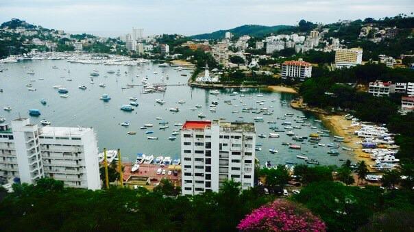 výhľad na záliv, hotel Casablanca, Acapulco, Mexiko
