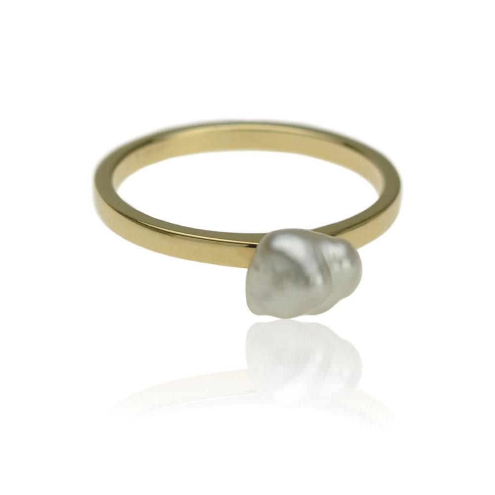 Geelgouden Ring Met Een Keshi Parel