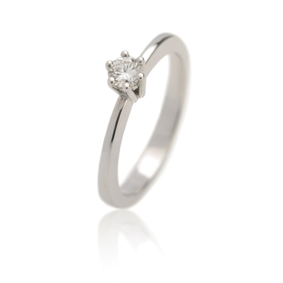 Witgouden Verlovingsring Met Een Diamant Met Logo