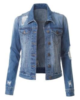 Wholesale sales of women's denim jackets fashion holes washed denim jackets
