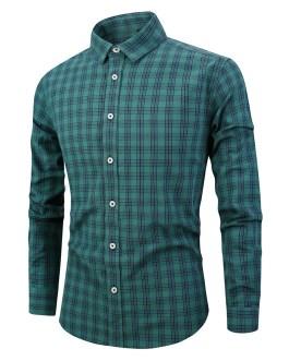 holesale Custom Essential Formal Casual Work Regular Fit Long Sleeve Plaid 100%Cotton Polo Tuxedo Office shirt for Men