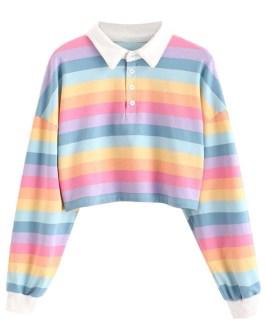 Custom Hot selling Dropped Shoulder Stripe Women Crop Top Polo Shirt