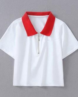 2019 New Summer Fashion Women Casual Short Sleeve Slim Crop Tops Polo Shirts