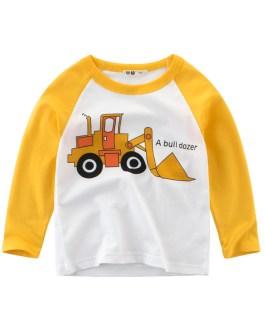 kids wear boys t shirts with cute boy cartoon fire truck round collar