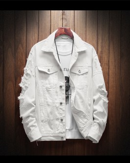 Slim Fit Premium Autumn Spring Mens Pink And White Denim Jeans Coat Jacket Collection