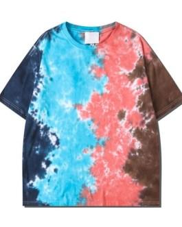 Unisex Streetwear T Shirt Printing Tie Dye Short Sleeve Men's Hip Hop T shirts