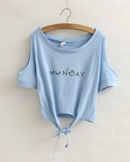 Crop Sleeve Bottom Lace Knot Summer Hip hop T-shirt Collection