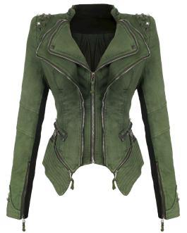 Latest Fashion Rivet Punk Rock Jacket Zipper Woman Denim Jacket Collection
