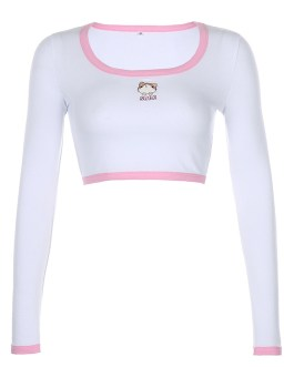 Cute Women Long Sleeve Embroidered White Crop Top Women T-shirt Collection