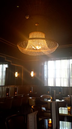 The beautiful chandelier in the main bar area