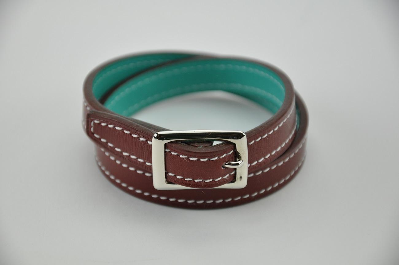Bracelet 2 tours rouge H doublé en veau turquoise, pour femme ou homme. France