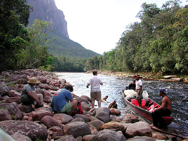 preparing for the hike to Salto Angel
