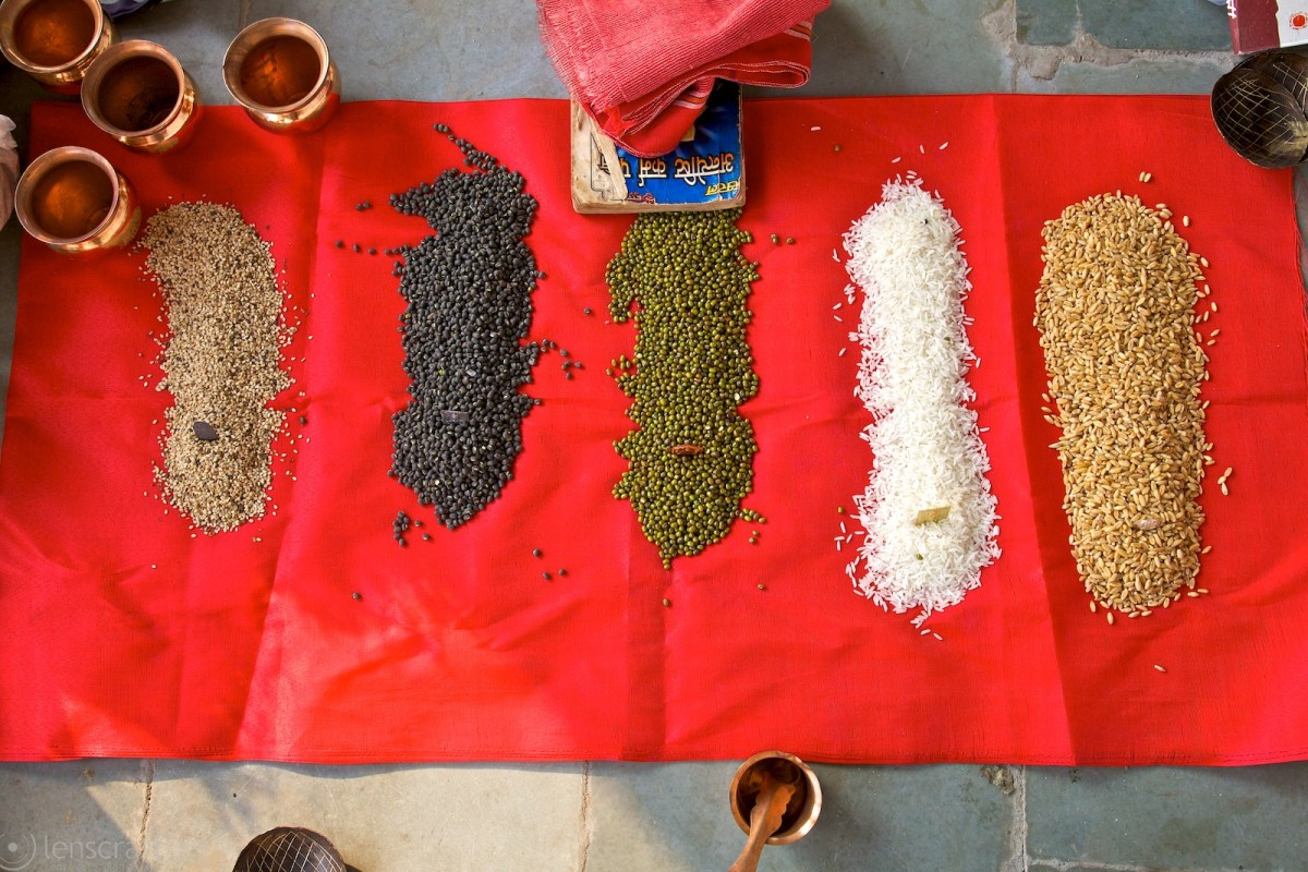 offerings of grains & lentils / udaipur, india
