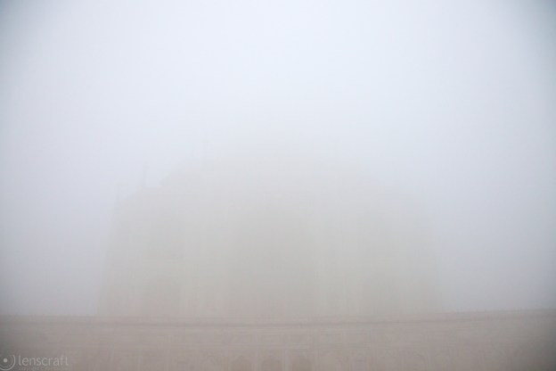 the taj in the fog / agra, india