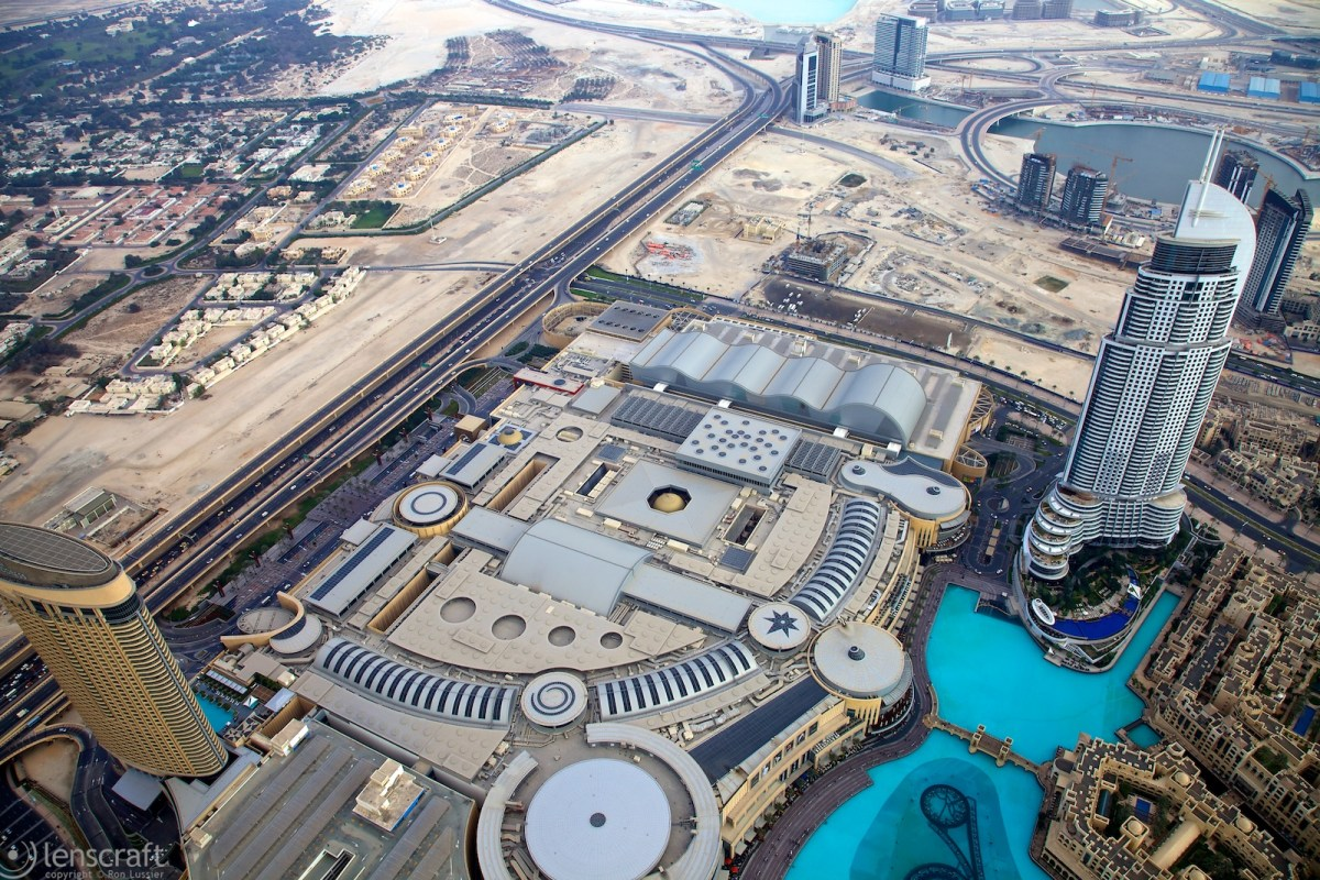 looking down at the dubai mall / burj khalifa, dubai, uae