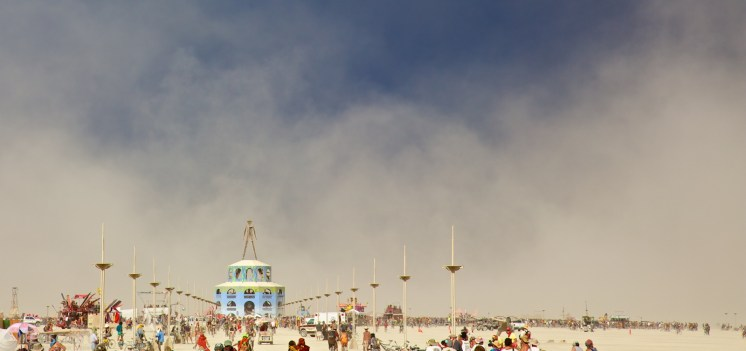 dust storm over the man / black rock city, nevada