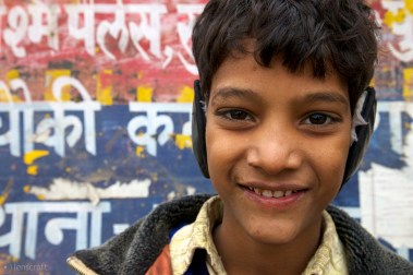 the boy with the earmuffs / agra, india