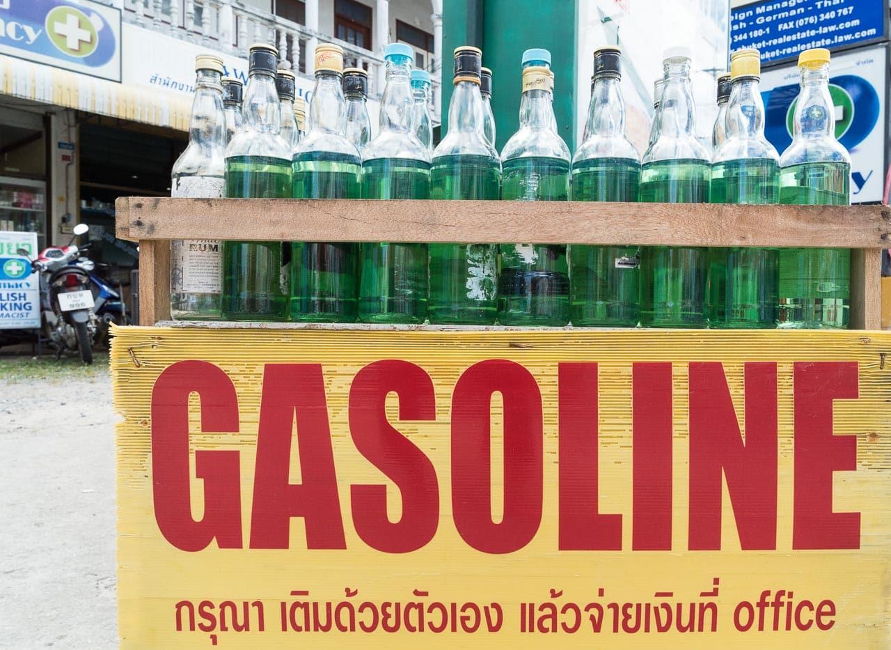 gasoline by the liter / phuket, thailand