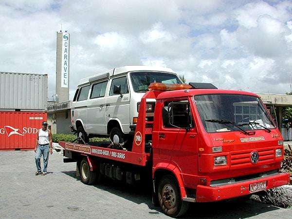 VW van on a VW tow truck