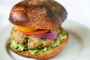 close up of turkey burger