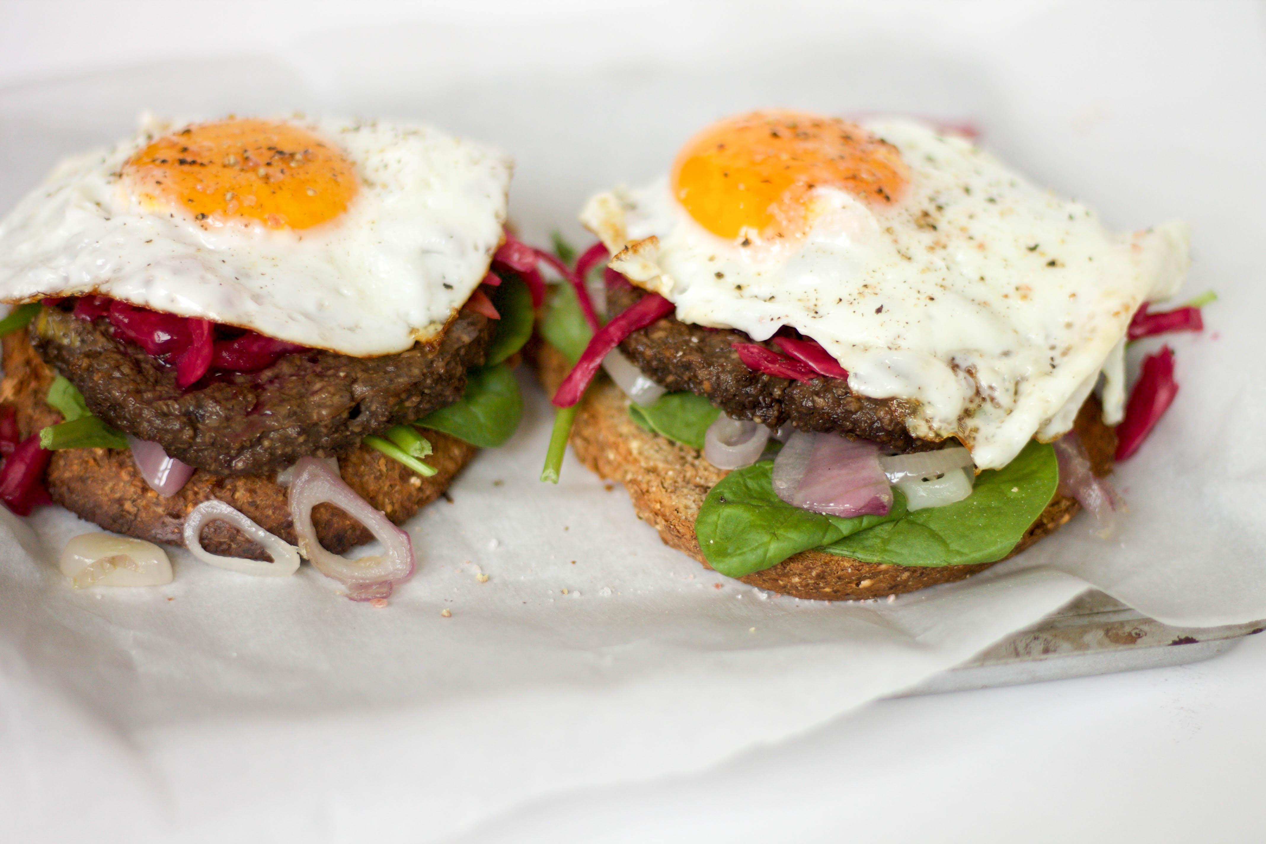 mushroom burger egg stacks