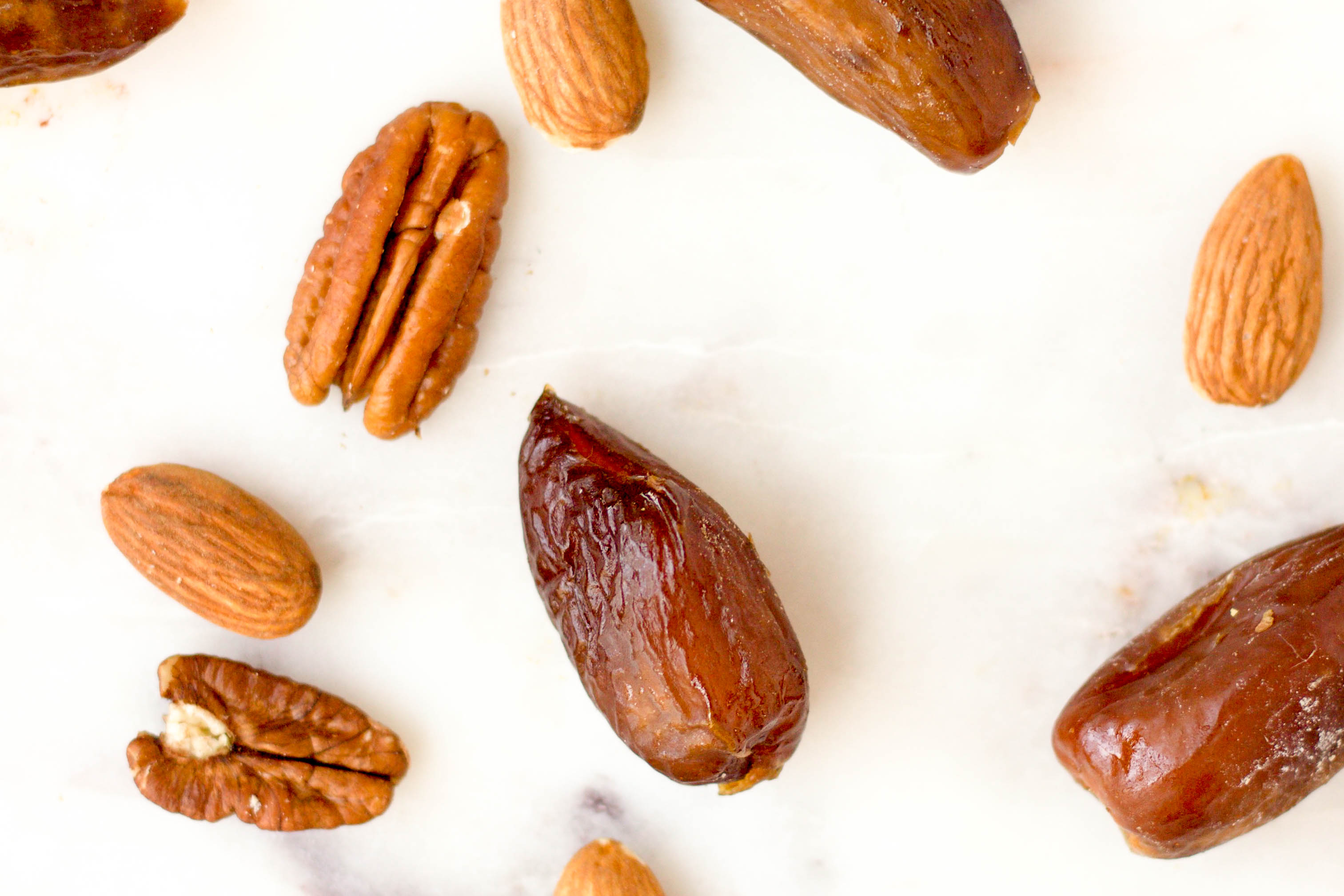 almonds, pecans, and medjool dates