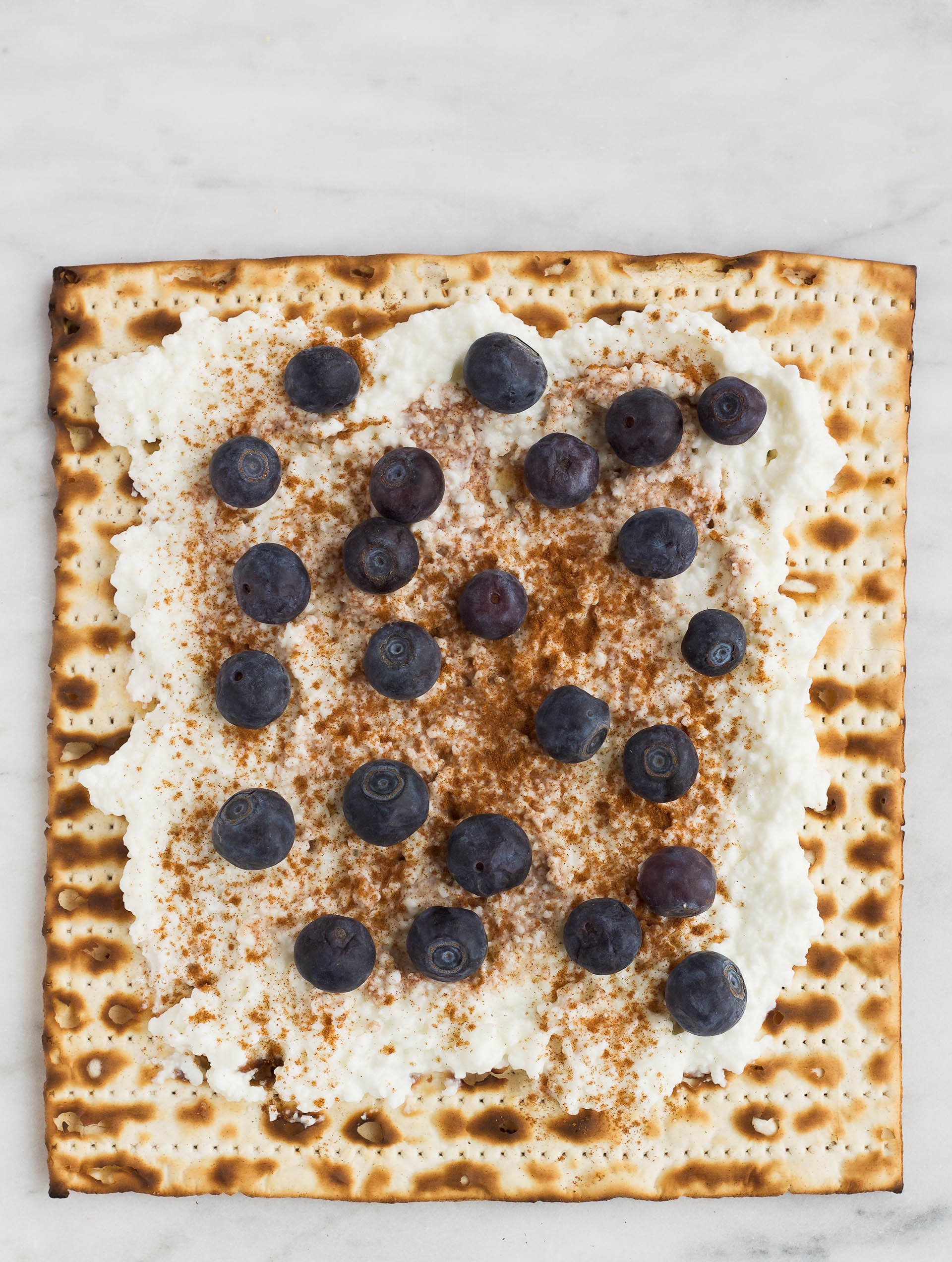 matzah with cottage cheese, blueberries, and cinnamon