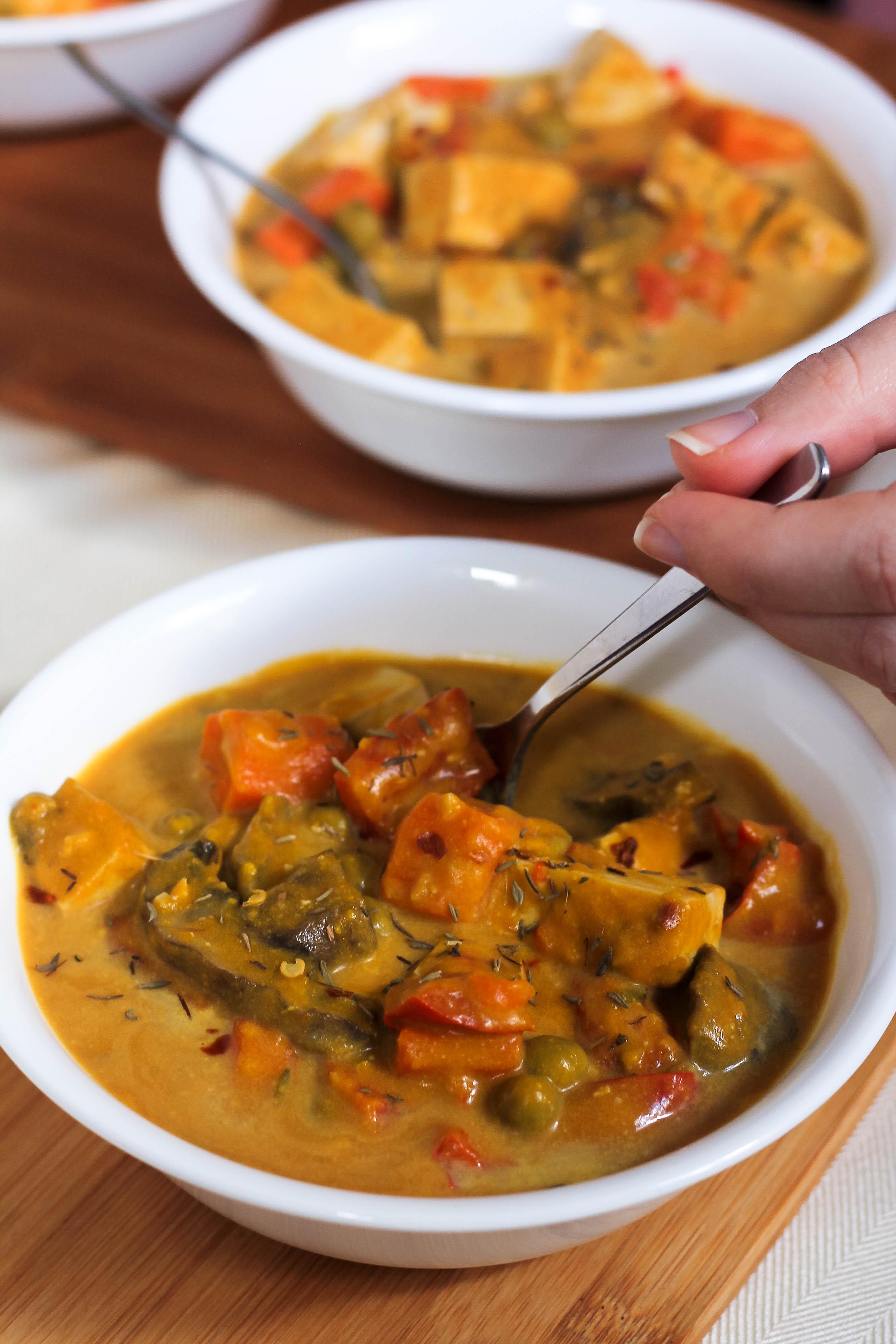 slow-cooker pumpkin tofu stew