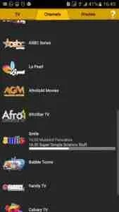 Channels streamed live by MTN App