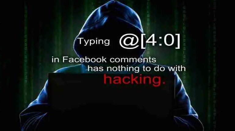 Facebook trick of typing @4:0 hack
