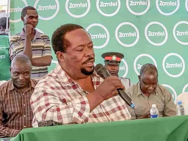 Msanzala Member of Parliament Peter Daka making his remarks