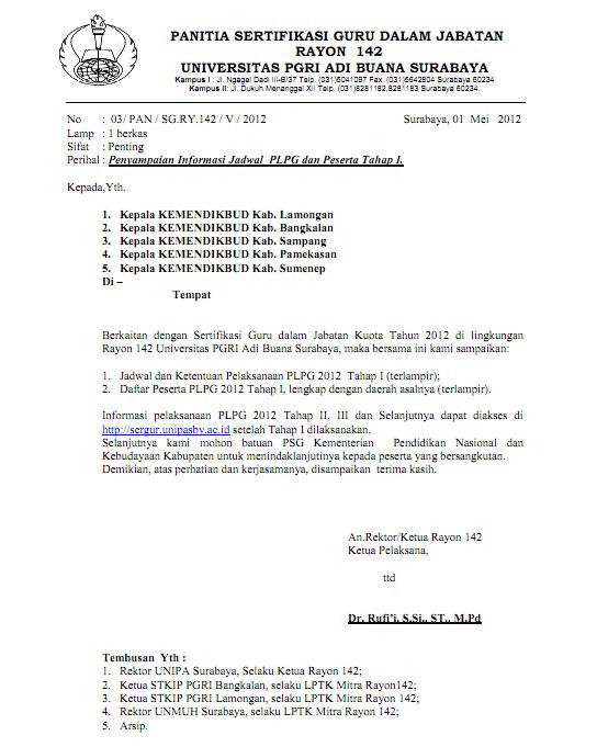 Jadwal Pelaksanaan PLPG 2012