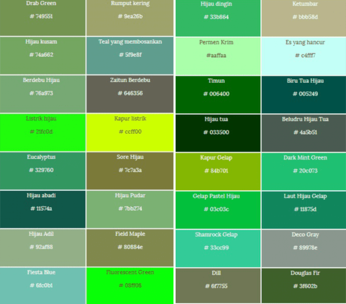 57+ Jenis Warna Hijau Di Sekitar Kalian, Apa Maknanya?