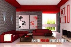 Aksen Merah Pada Ruang Tamu