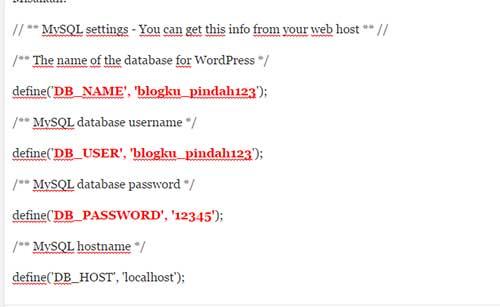 database MySQL worpress