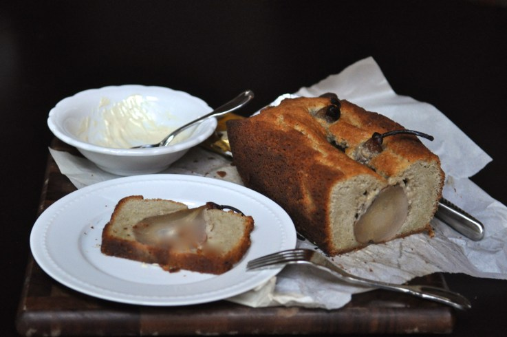 Frosting Cardamom Cake w/ Whole Pears