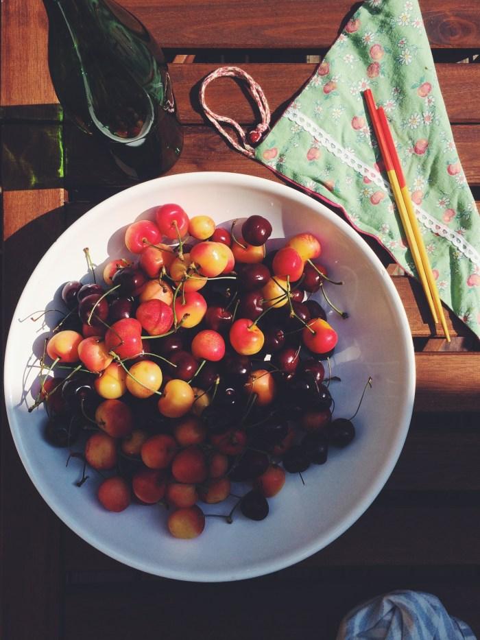 Pitting Cherries in the Sun