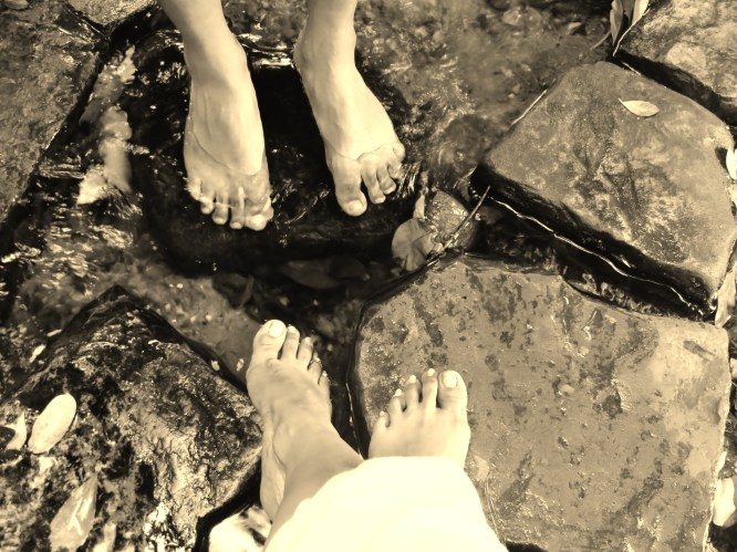 Dipping toes in a merry little brook.