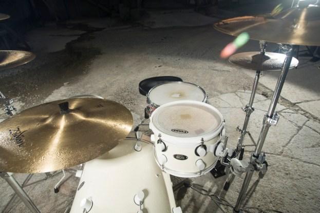 One Soaking wet drum set.