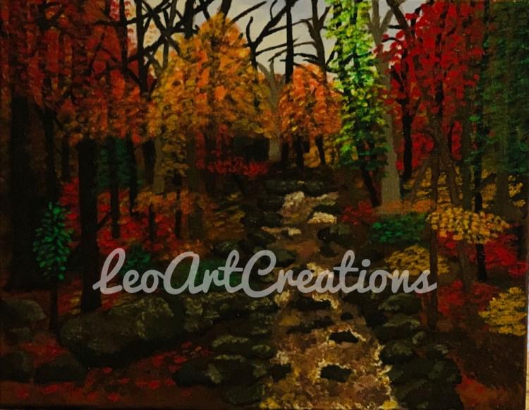 Landscape Autumn Creek Leo Art Creations