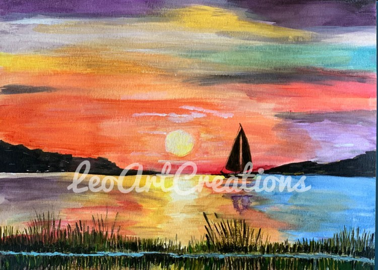Landscape Sailing Sunset on the Water Leo Art Creations