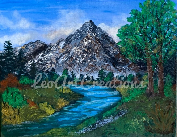 Landscape Mountain River Leo Art Creations