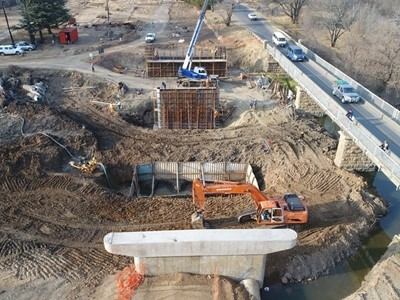 Murray Street Wilge River Bridge (B0360): General view of pier foundation excavation and pier construction in progress