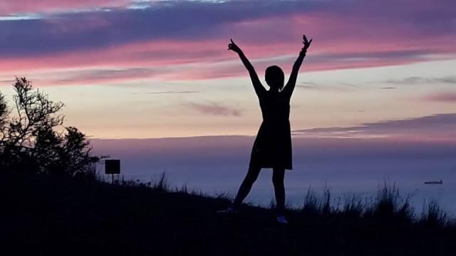 Jade on Signal Hill at Sunset