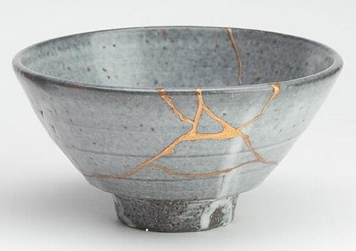 A Japanese Tea bowl fixed in the Kintsugi method