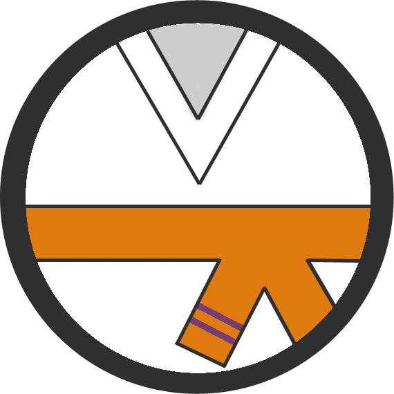 Leominster Martial Arts Orange Belt 2 Purple stripe icon