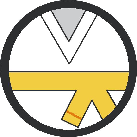 Leominster Martial Arts Yellow Belt 1 orange stripe icon