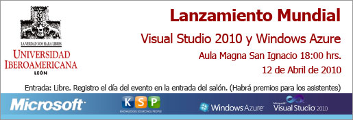 Invitación Lanzamiento VS10 y Windows Azure